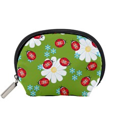 Insect Flower Floral Animals Star Green Red Sunflower Accessory Pouches (small)  by Mariart