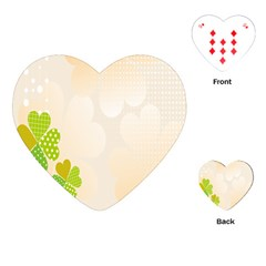 Leaf Polka Dot Green Flower Star Playing Cards (heart)  by Mariart