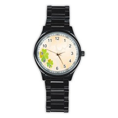 Leaf Polka Dot Green Flower Star Stainless Steel Round Watch by Mariart