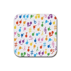 Musical Notes Rubber Coaster (square)  by Mariart