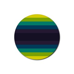 Neon Stripes Line Horizon Color Rainbow Yellow Blue Purple Black Rubber Coaster (round)  by Mariart