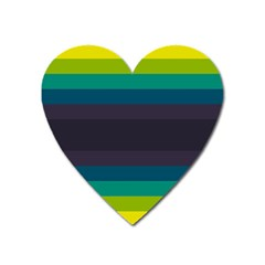 Neon Stripes Line Horizon Color Rainbow Yellow Blue Purple Black Heart Magnet by Mariart