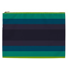 Neon Stripes Line Horizon Color Rainbow Yellow Blue Purple Black Cosmetic Bag (xxl)  by Mariart