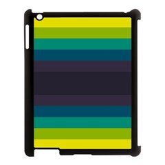 Neon Stripes Line Horizon Color Rainbow Yellow Blue Purple Black Apple Ipad 3/4 Case (black) by Mariart