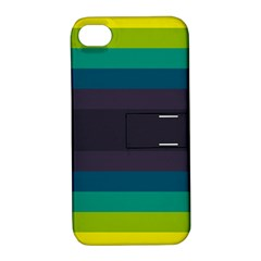 Neon Stripes Line Horizon Color Rainbow Yellow Blue Purple Black Apple Iphone 4/4s Hardshell Case With Stand by Mariart
