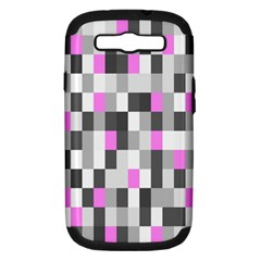Pink Grey Black Plaid Original Samsung Galaxy S Iii Hardshell Case (pc+silicone) by Mariart