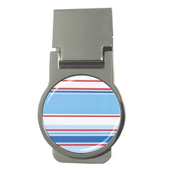 Navy Blue White Red Stripe Blue Finely Striped Line Money Clips (round)  by Mariart