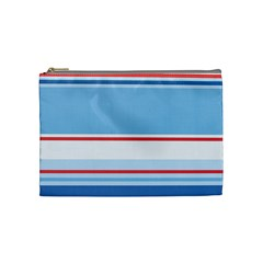 Navy Blue White Red Stripe Blue Finely Striped Line Cosmetic Bag (medium)  by Mariart