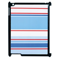 Navy Blue White Red Stripe Blue Finely Striped Line Apple Ipad 2 Case (black) by Mariart