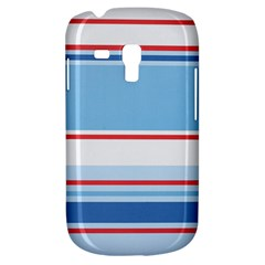 Navy Blue White Red Stripe Blue Finely Striped Line Galaxy S3 Mini by Mariart