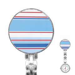 Navy Blue White Red Stripe Blue Finely Striped Line Stainless Steel Nurses Watch by Mariart