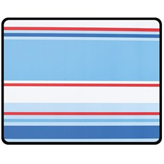 Navy Blue White Red Stripe Blue Finely Striped Line Double Sided Fleece Blanket (medium)  by Mariart