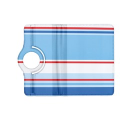 Navy Blue White Red Stripe Blue Finely Striped Line Kindle Fire Hd (2013) Flip 360 Case by Mariart