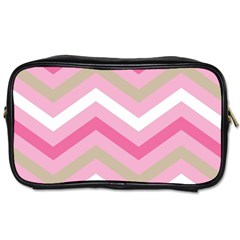 Pink Red White Grey Chevron Wave Toiletries Bags 2 Side by Mariart