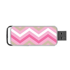 Pink Red White Grey Chevron Wave Portable Usb Flash (two Sides) by Mariart
