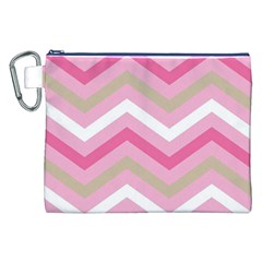 Pink Red White Grey Chevron Wave Canvas Cosmetic Bag (xxl) by Mariart