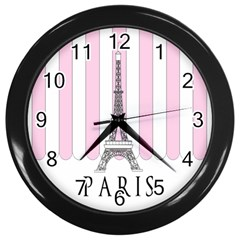Pink Paris Eiffel Tower Stripes France Wall Clocks (black) by Mariart