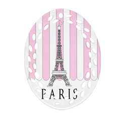 Pink Paris Eiffel Tower Stripes France Ornament (oval Filigree) by Mariart