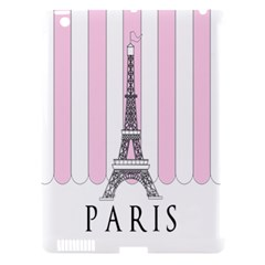 Pink Paris Eiffel Tower Stripes France Apple Ipad 3/4 Hardshell Case (compatible With Smart Cover) by Mariart
