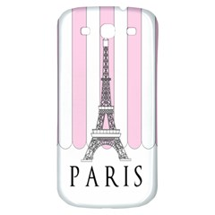 Pink Paris Eiffel Tower Stripes France Samsung Galaxy S3 S Iii Classic Hardshell Back Case by Mariart