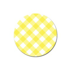 Plaid Chevron Yellow White Wave Magnet 3  (round) by Mariart