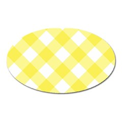Plaid Chevron Yellow White Wave Oval Magnet by Mariart