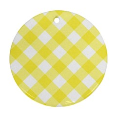 Plaid Chevron Yellow White Wave Round Ornament (two Sides) by Mariart
