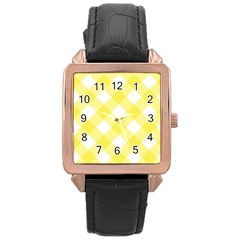 Plaid Chevron Yellow White Wave Rose Gold Leather Watch  by Mariart