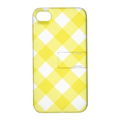 Plaid Chevron Yellow White Wave Apple Iphone 4/4s Hardshell Case With Stand by Mariart