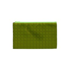Royal Green Vintage Seamless Flower Floral Cosmetic Bag (xs) by Mariart