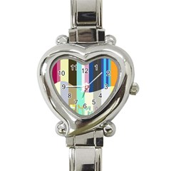 Rainbow Color Line Vertical Rose Bubble Note Carrot Heart Italian Charm Watch by Mariart