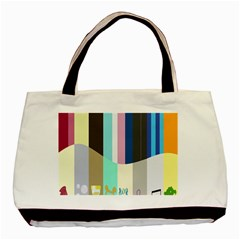 Rainbow Color Line Vertical Rose Bubble Note Carrot Basic Tote Bag by Mariart