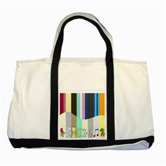 Rainbow Color Line Vertical Rose Bubble Note Carrot Two Tone Tote Bag by Mariart