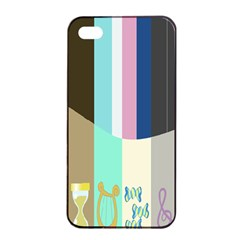 Rainbow Color Line Vertical Rose Bubble Note Carrot Apple Iphone 4/4s Seamless Case (black) by Mariart