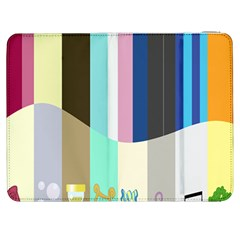 Rainbow Color Line Vertical Rose Bubble Note Carrot Samsung Galaxy Tab 7  P1000 Flip Case by Mariart