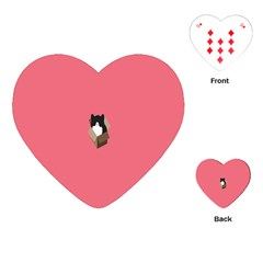 Minimalism Cat Pink Animals Playing Cards (heart)  by Mariart