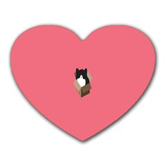 Minimalism Cat Pink Animals Heart Mousepads by Mariart