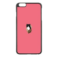 Minimalism Cat Pink Animals Apple Iphone 6 Plus/6s Plus Black Enamel Case by Mariart