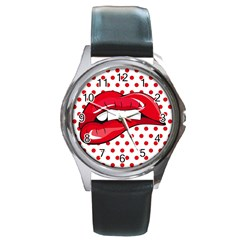 Sexy Lips Red Polka Dot Round Metal Watch by Mariart