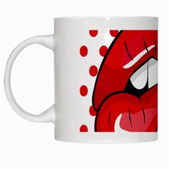 Sexy Lips Red Polka Dot White Mugs by Mariart