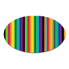 Multi Colored Colorful Bright Stripes Wallpaper Pattern Background Oval Magnet by Nexatart