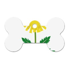 Sunflower Floral Flower Yellow Green Dog Tag Bone (two Sides) by Mariart