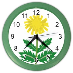 Sunflower Floral Flower Yellow Green Color Wall Clocks by Mariart