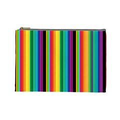 Multi Colored Colorful Bright Stripes Wallpaper Pattern Background Cosmetic Bag (large)  by Nexatart