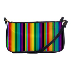 Multi Colored Colorful Bright Stripes Wallpaper Pattern Background Shoulder Clutch Bags by Nexatart