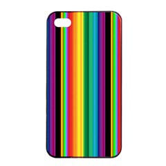 Multi Colored Colorful Bright Stripes Wallpaper Pattern Background Apple Iphone 4/4s Seamless Case (black) by Nexatart