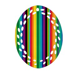 Multi Colored Colorful Bright Stripes Wallpaper Pattern Background Oval Filigree Ornament (two Sides) by Nexatart