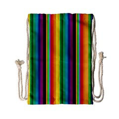 Multi Colored Colorful Bright Stripes Wallpaper Pattern Background Drawstring Bag (small) by Nexatart