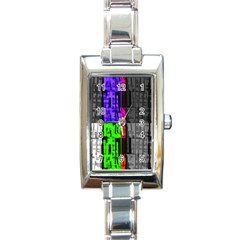 Repeated Tapestry Pattern Rectangle Italian Charm Watch by Nexatart