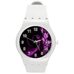 Purple Flower Floral Round Plastic Sport Watch (m) by Mariart